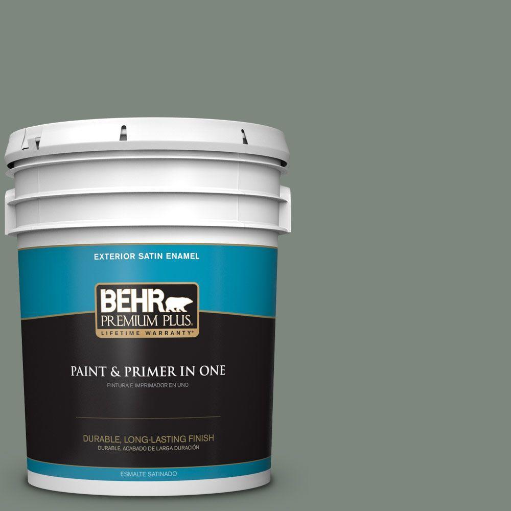 BEHR Premium Plus 5-gal. #700F-5 Wild Sage Satin Enamel Exterior Paint