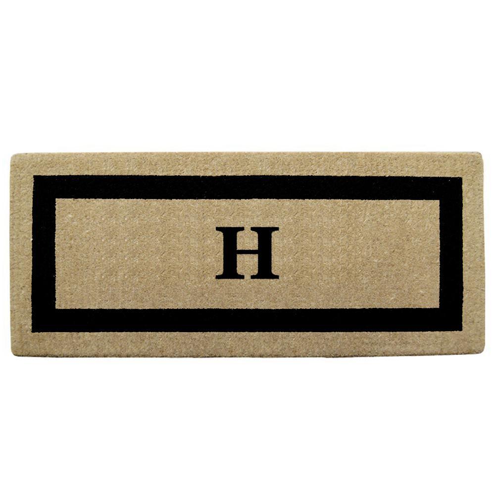 Single Picture Frame Black 24 in. x 57 in. Heavy Duty Coir Monogrammed H Door Mat
