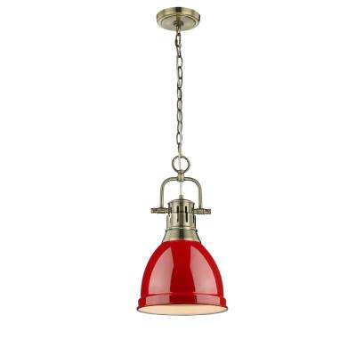 Duncan AB 1-Light Aged Brass Pendant with Red Shade