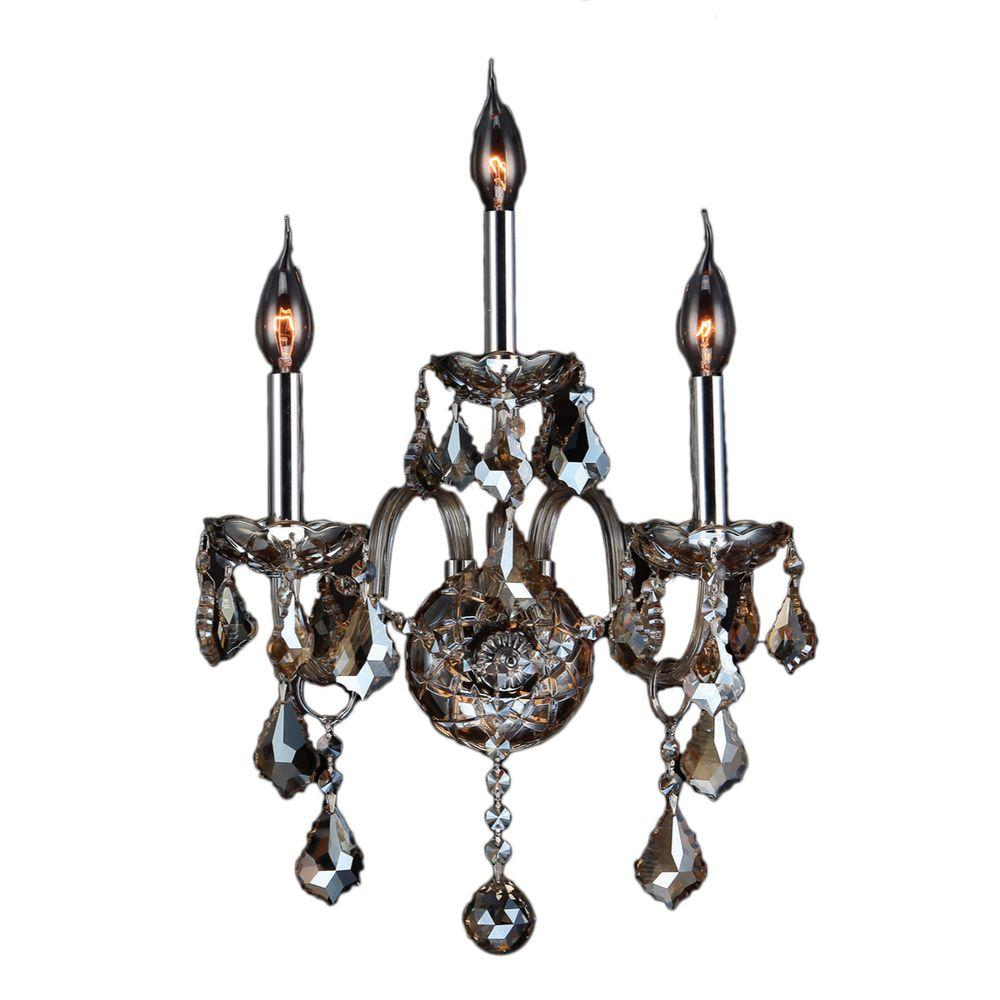 Provence 3-Light Chrome and Golden Teak Crystal Sconce