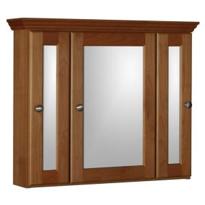 Ultraline 30 in. W x 27 in. H x 6-1/2 in. D Framed Tri-View Surface-Mount Bathroom Medicine Cabinet in Medium Alder