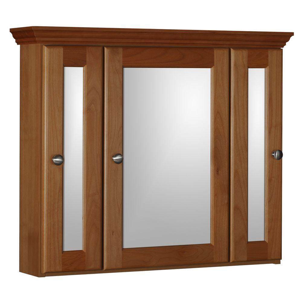 Ultraline 30 in. W x 27 in. H x 6-1/2 in. D Framed Tri-View Surface-Mount Bathroom Medicine Cabinet in Medium Alder