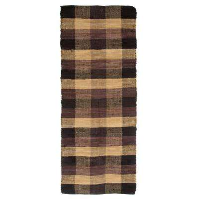 Chindi Plaid Chocolate 2 ft. x 5 ft. Runner