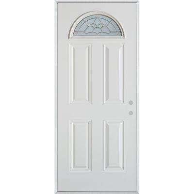 32 in. x 80 in. Traditional Brass Fan Lite 4-Panel Painted White Left-Hand Inswing Steel Prehung Front Door