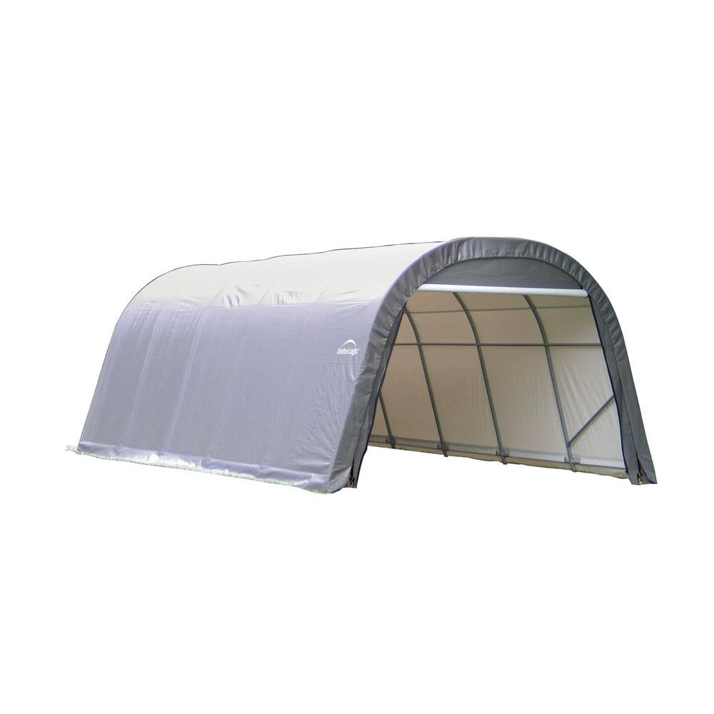 Shelterlogic Sheltercoat 12 Ft X 24 Ft Wind And Snow Rated Garage Round Gray Std 72332 0 The Home Depot