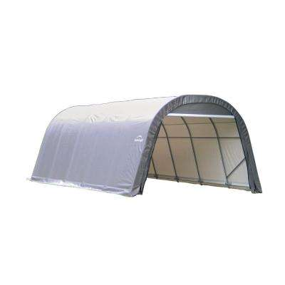 ShelterCoat 12 ft. x 24 ft. Wind and Snow Rated Garage Round Gray STD