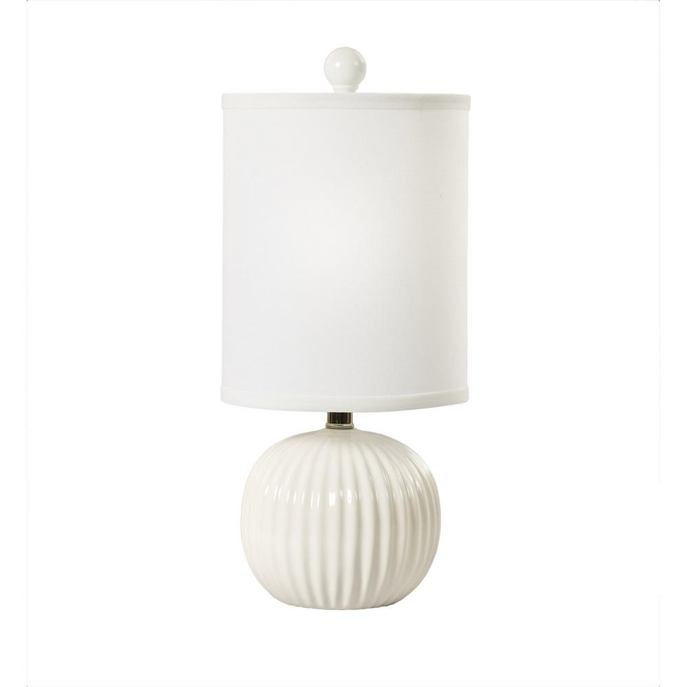 19 in. White Ribbed Ball Ceramic Table Lamp