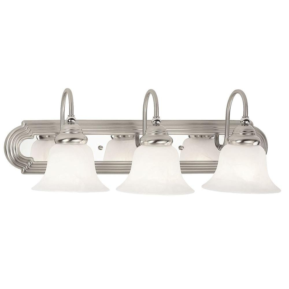 bathroom light fixtures brushed nickel finish livex lighting regency 3 light brushed nickel and 24901