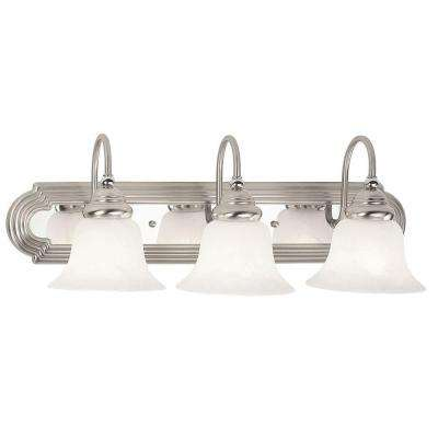 French Regency 3-Light Brushed Nickel and Chrome Bath Light
