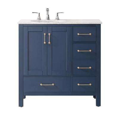 Gela 36 in. Vanity in Blue with Marble Vanity Top in White with White Basin