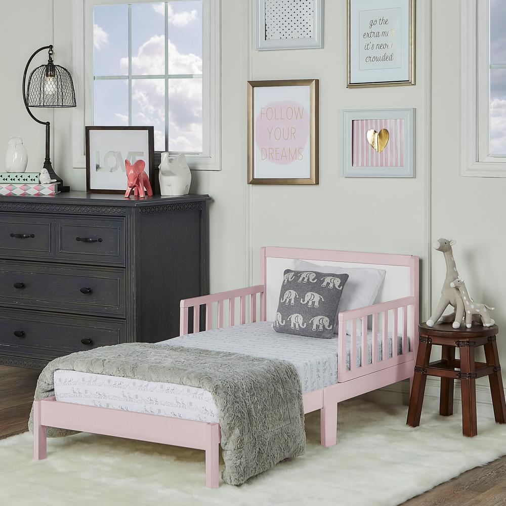 Dream On Me Brookside Blush Pink And White Toddler Adjule Bed