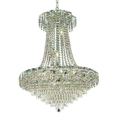 15-Light Chrome Chandelier with Clear Crystal