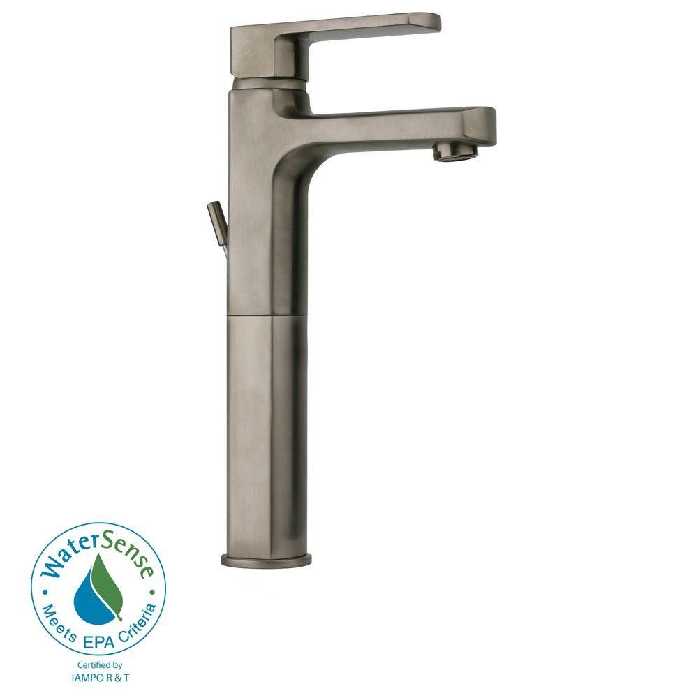 LaToscana Novello Single Hole 1-Handle High-Arc Bathroom Vessel Faucet in Brushed Nickel