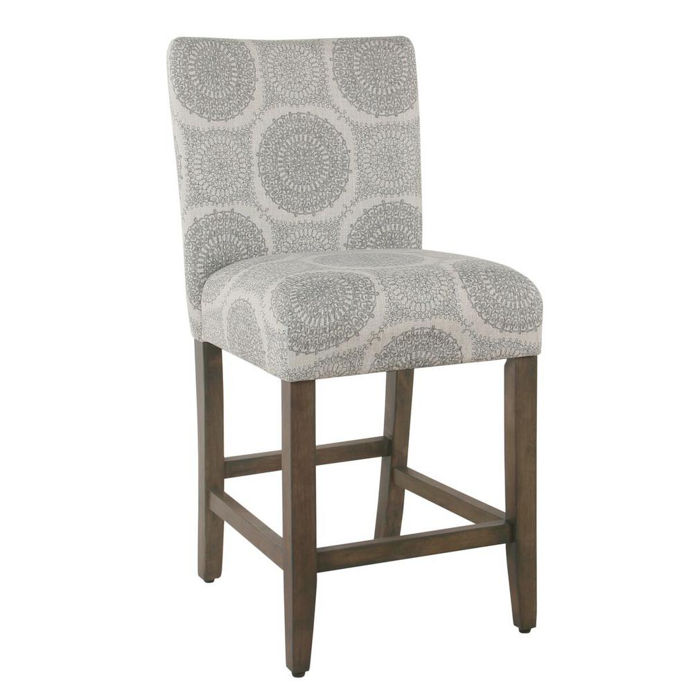 Homepop Parsons 24 In Gray Medallion Bar Stool K6858 24