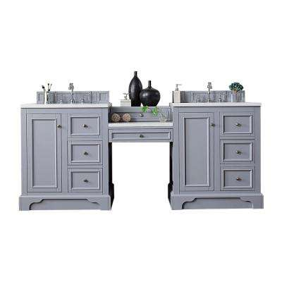 De Soto 82 in. W Double Vanity in Silver Gray with Soild Surface Vanity Top in Arctic Fall with White Basin