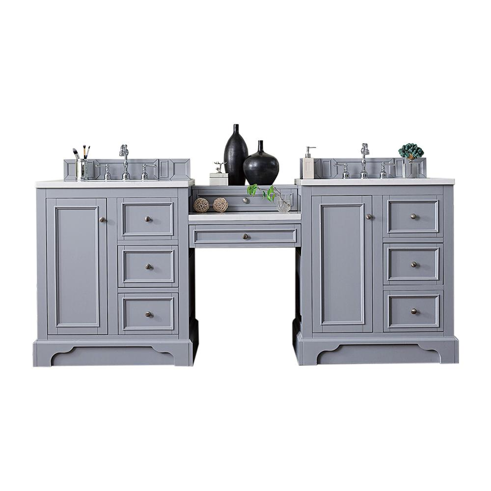 James Martin Vanities De Soto 82 in. W Double Vanity in Silver Gray with Soild Surface Vanity Top in Arctic Fall with White Basin