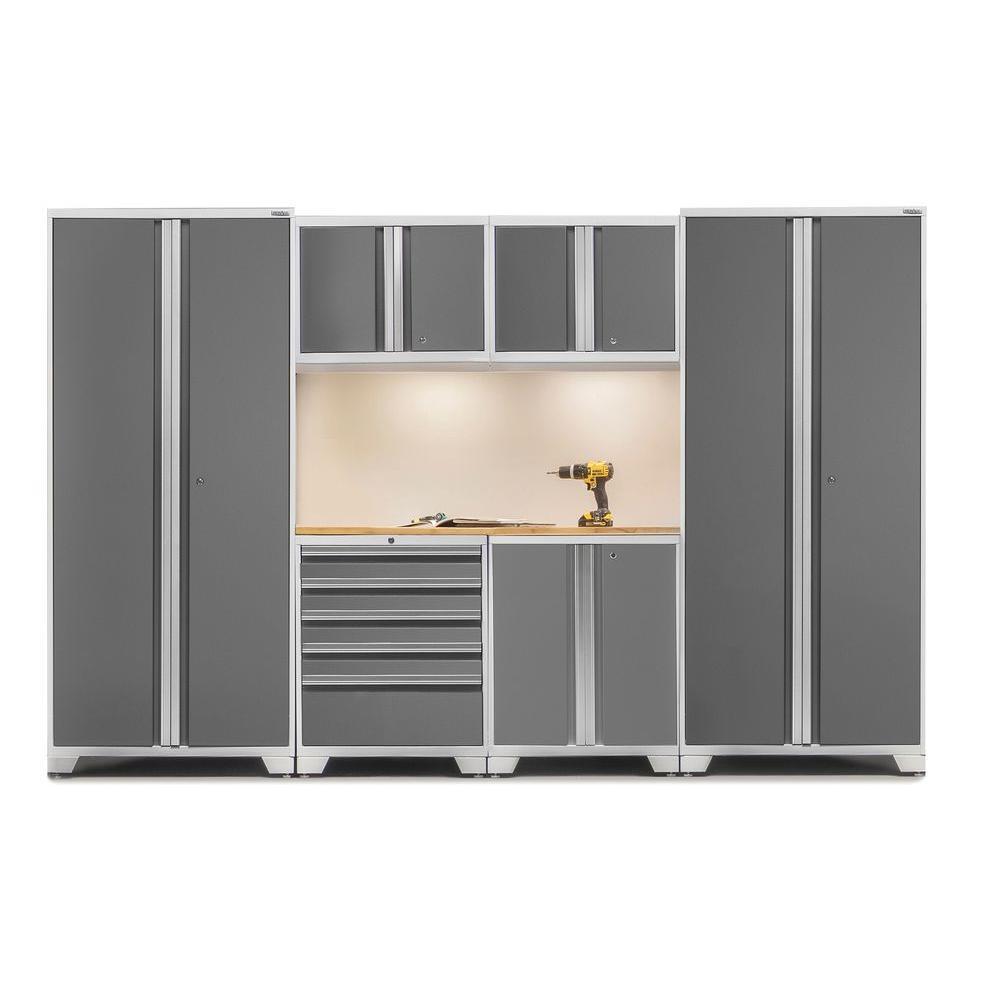 Pro 3 Series 85 in. H x 128 in. W x 24 in. D 18-Gauge Welded Steel Bamboo Worktop Cabinet Set inPlatinum(7-Piece)