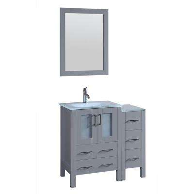 36 in. Single Vanity in Gray with Tempered Glass Vanity Top in White with White Basin Polished Chrome Faucet and Mirror