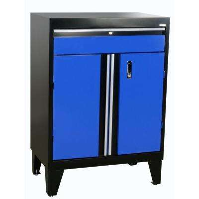 30 in. W x 18 in. D x 43 in. H Modular Steel Base Cabinet with Drawer, Full Pull in Black/Blue
