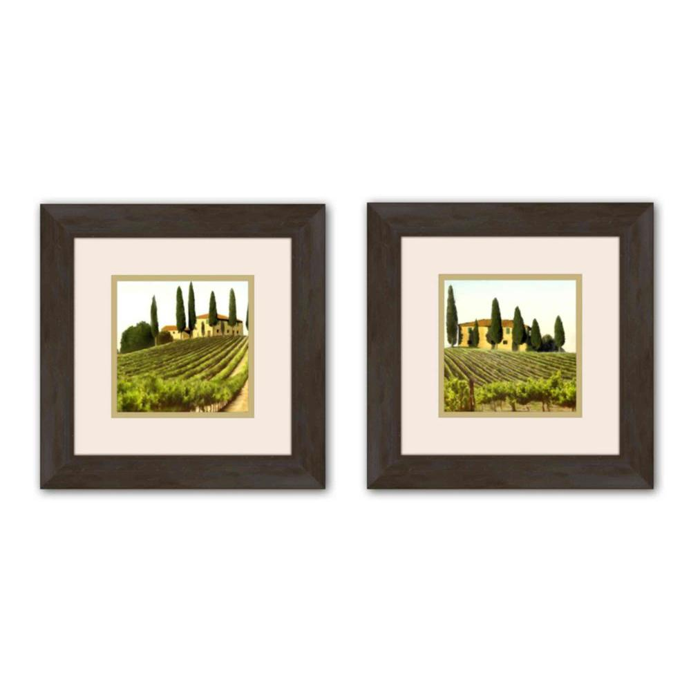 """PTM Images 13 in. x 13 in. """"Field"""" Double-Matted Framed Wall Art (Set of 2)"""