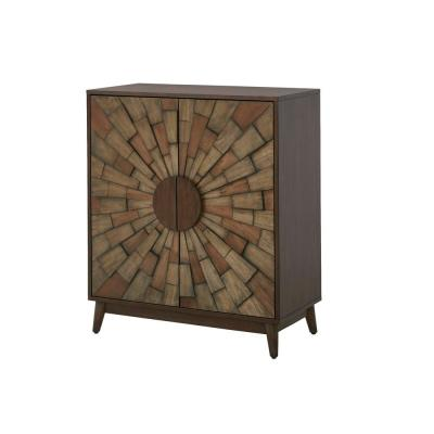 Home Decorators Collection Smoke Brown Wood Accent Cabinet with Dimensional Starburst Pattern (31.5 in. W x 36.63 in. H)