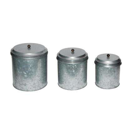 3- Piece Galvanized Metal Lidded Gray Canister with Ribbed Pattern