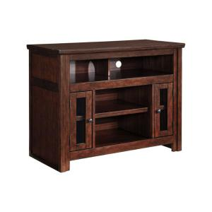42 in. Brown Composite TV Stand Fits TVs Up to 40 in. with Storage Doors