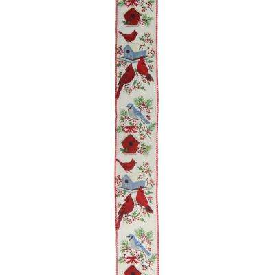 2.5 in. x 16 yds. Red Cardinals and Blue Bird Wired Craft Ribbon