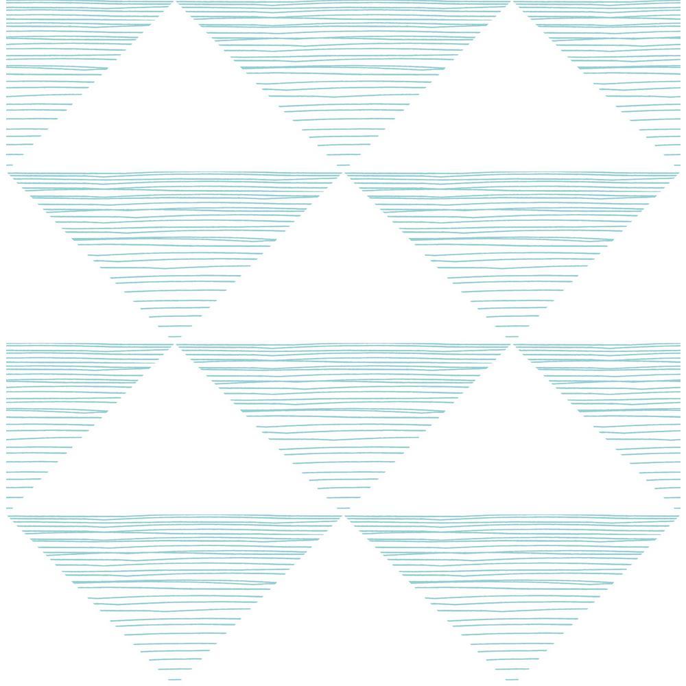 Seabrook Designs Kids Teal Geo Stripe Wallpaper DA61909