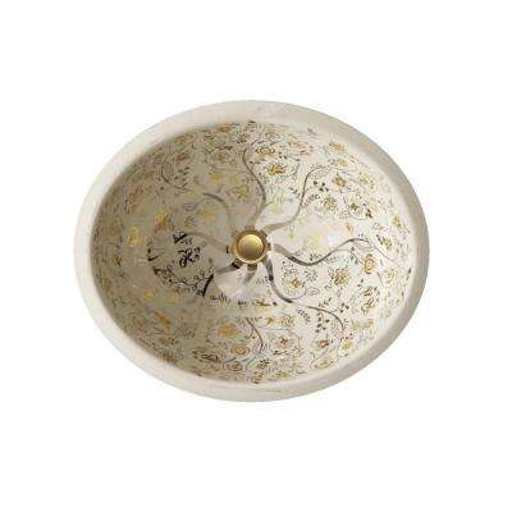 Caxton Vitreous China Undermount Bathroom Sink in Almond/Mille Fleurs Gold/Platinum