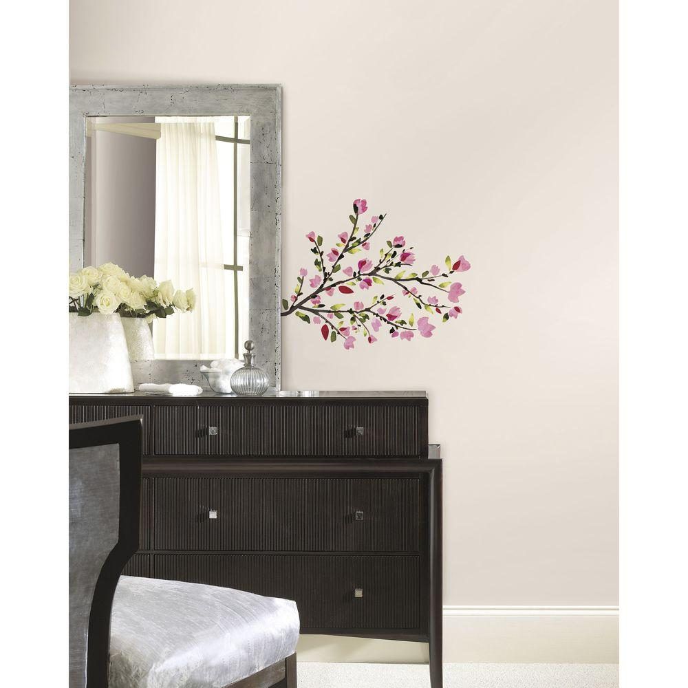 RoomMates 5 in. x 19 in. Pink Blossom Branches Peel and S...