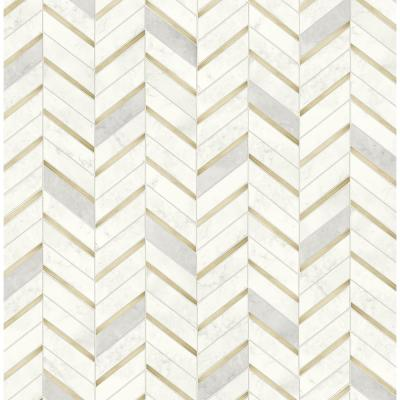 Faux Metallic Gold and Pearl Gray Chevron Marble Tile Peel and Stick Wallpaper (Covers 30.75 sq. ft.)