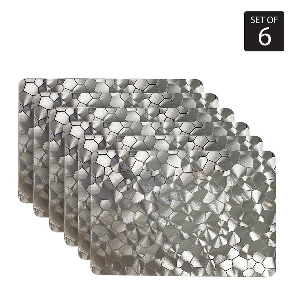 Water Cube Metallic 18 in. x 12 in. Grays Vinyl Placemats (Set of 6)