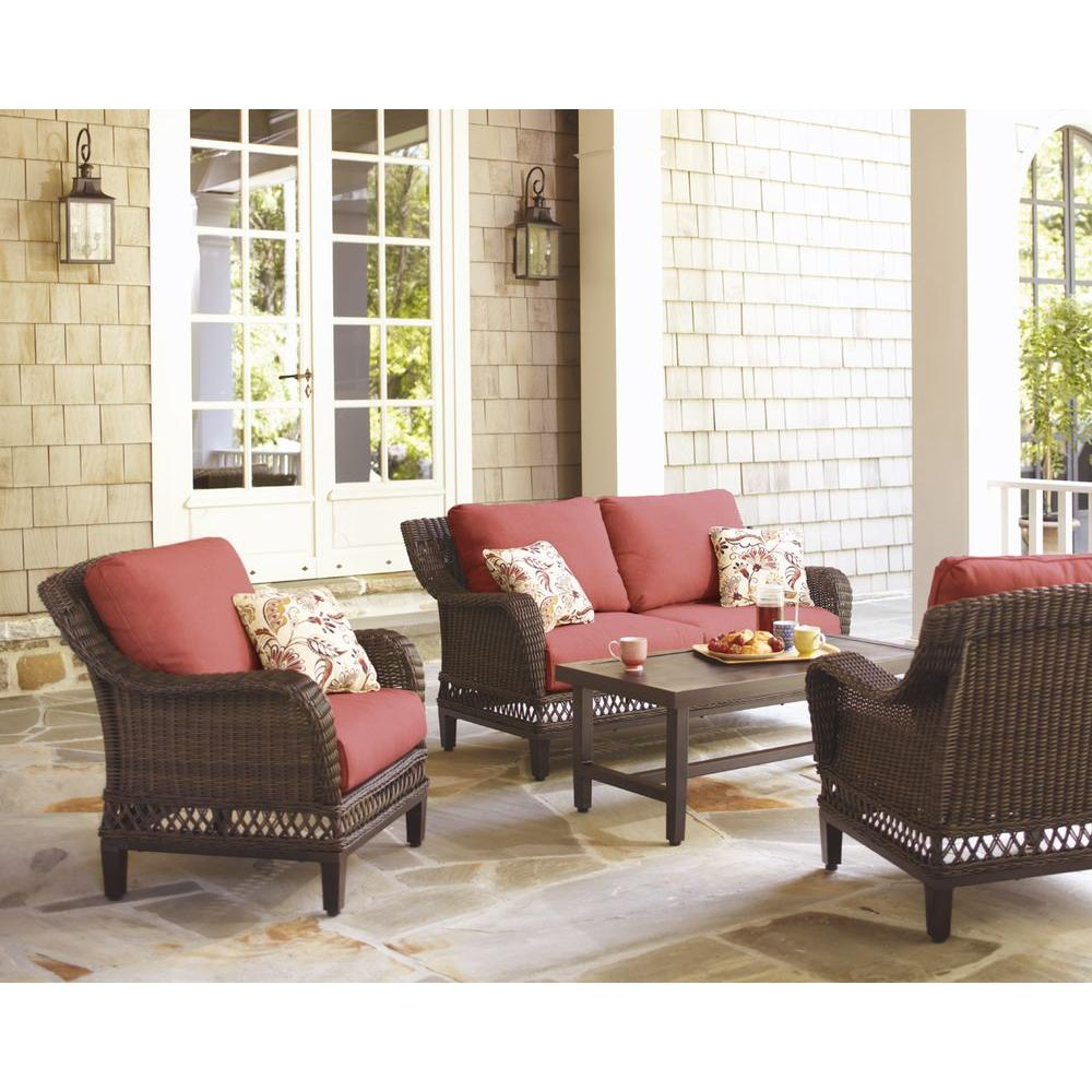 Hampton Bay Woodbury 4 Piece Wicker Outdoor Patio Seating Set With Chili Cushion