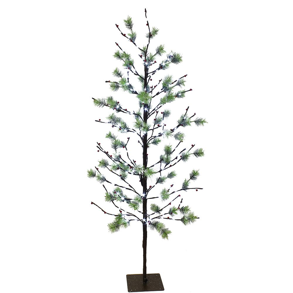Pre Lit Christmas Twig Tree: Puleo International 5 Ft. Pre-Lit Twig Tree With 200 White