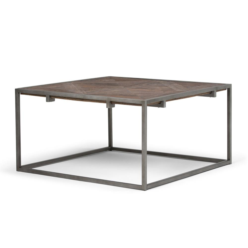 Simpli Home Avery Distressed Java Brown Wood Inlay Square Coffee Table