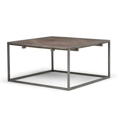 Avery Solid Aged Elm Wood and Metal 34 in. W Modern Industrial Square Coffee Table in Distressed Java Brown Wood Inlay