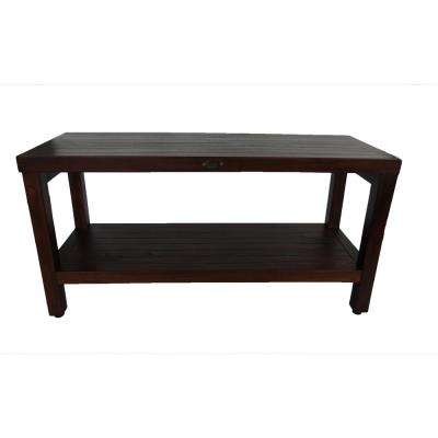 Classic 36 in. Teak Shower Bench with Shelf
