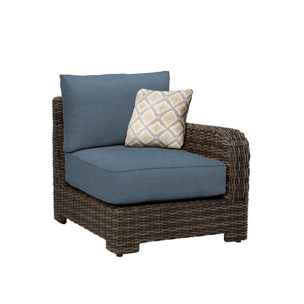 Brown Jordan Northshore Right Arm Patio Sectional Chair with Denim Cushion and Bazaar Throw Pillow -- CUSTOM