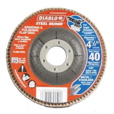 4-1/2 in. 40-Grit Steel Demon Grinding and Polishing Flap Disc with Type 29 Conical Design (5-Pack)