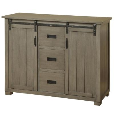 Barn Door Slate Gray TV Cabinet with 2-Sliding Doors and 3-Center Line Drawers