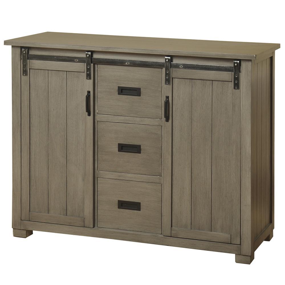 Stylecraft Barn Door Slate Gray Tv Cabinet With 2 Sliding