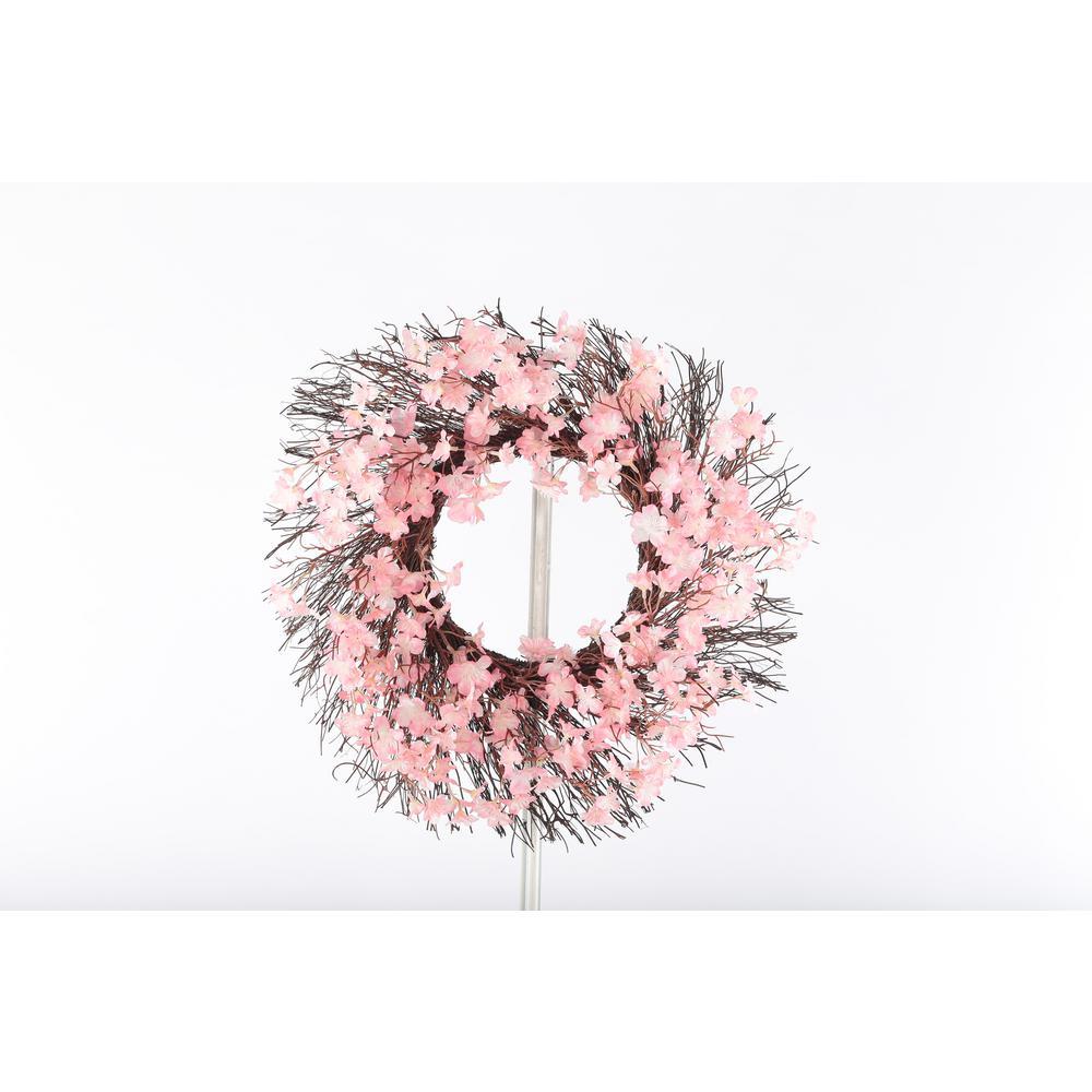 20 Pink Cherry Blossom Twig Wreath