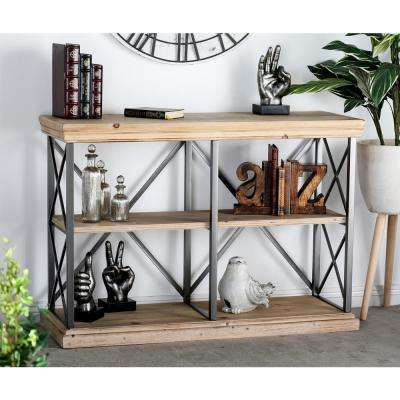 Light Brown 3-Tier Rectangular Shelf