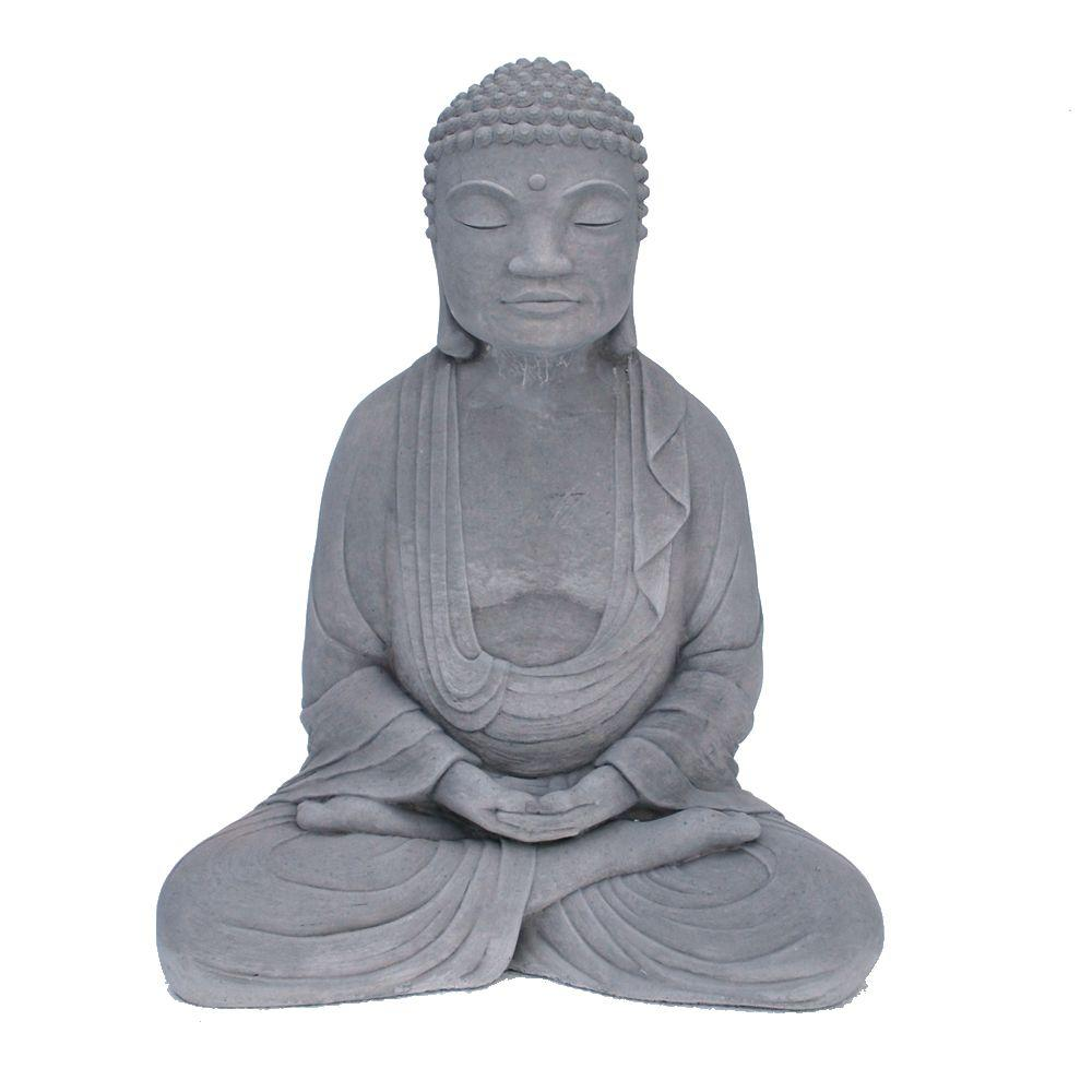 Stoneworks Cast Stone Meditating Buddha Garden Statue Antique Gray