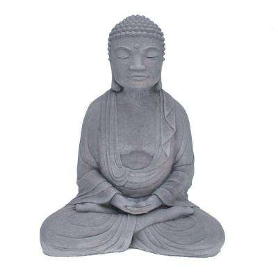 Cast Stone Meditating Buddha Garden Statue Antique Gray