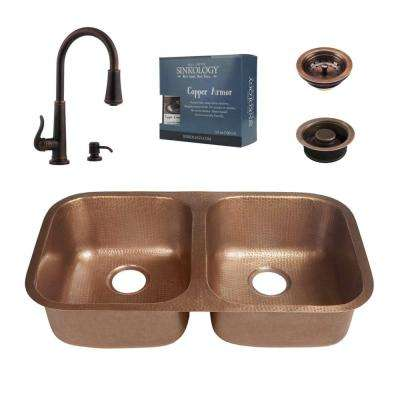 Kandinsky All-in-One Undermount Solid Copper 32 in. 50/50 Double Bowl Kitchen Sink with Pfister Bronze Faucet and Drains