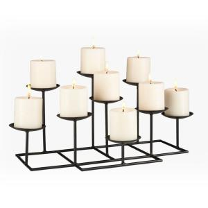 The Southern Enterprises 21-1/2 in. 9-Candle Candelabra Free Standing comes with metal construction and black matte finish. This features nine platforms to hold candles and a sturdy base. It adds warmth and gentle glow to any room of your home.