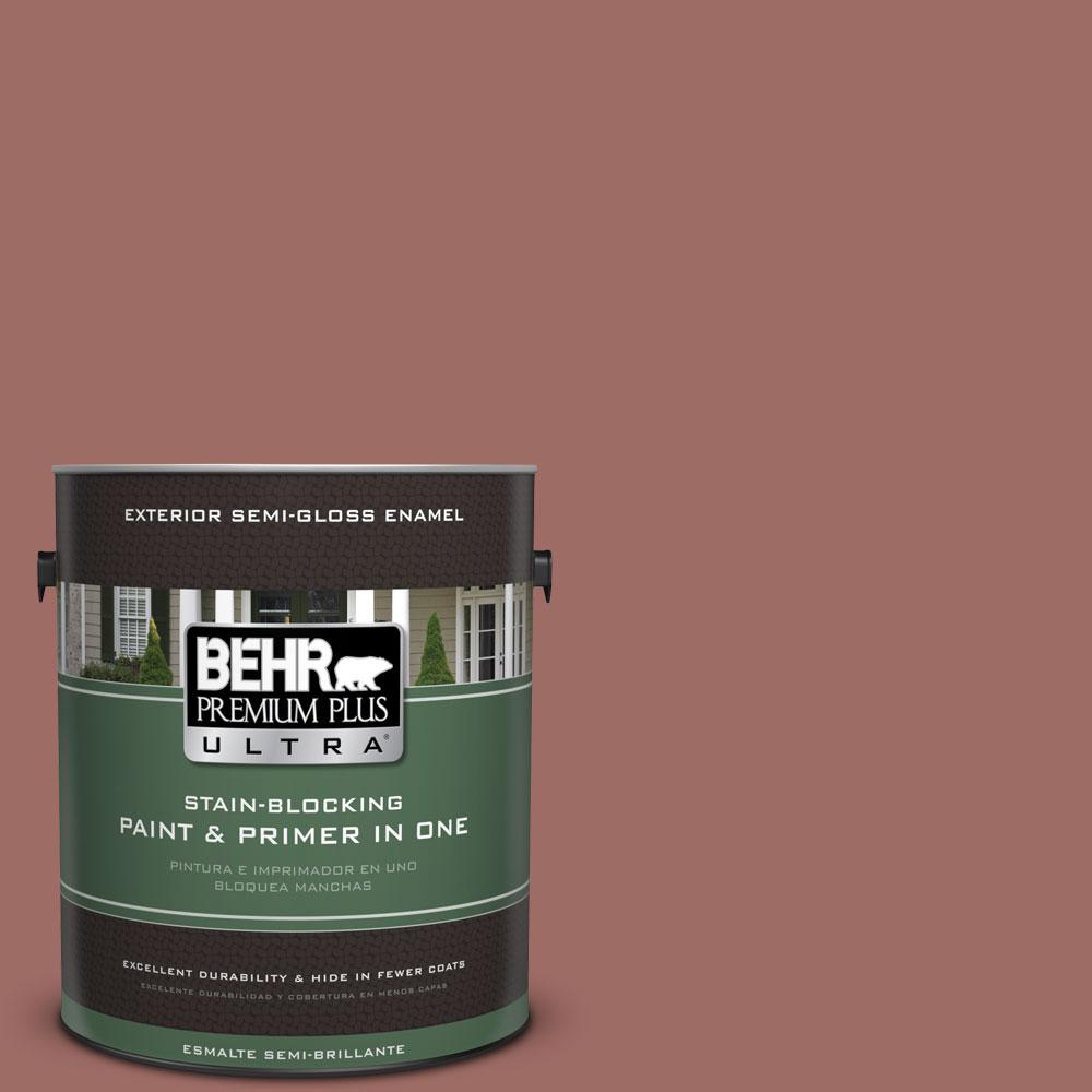 BEHR Premium Plus Ultra 1-gal. #190F-5 Brandy Semi-Gloss Enamel Exterior Paint
