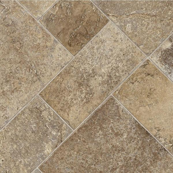Coffee Diagonal Tile Stone Residential Vinyl Sheet Flooring 12ft. Wide x Cut to Length